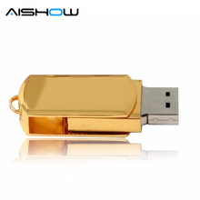 Usb Flash Drive Gold Silver 4G 8GB 32GB Pendrive Metal Small Mini U Disk pen drive rectangle USB 2.0 Usb Flash Memory Stick