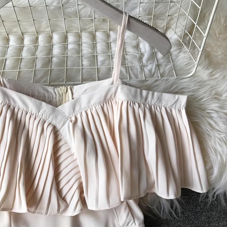 2019 Spring Women Chiffon Pleated Braces Sling Spaghetti Strap Goffer Long Dress Ladies Ruffles Empire Drapped Swing Slip Dress 196
