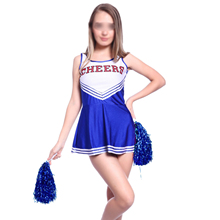 Hot Tank Dress Blue fancy dress cheerleader pom pom girl party girl XS 14-16 football school