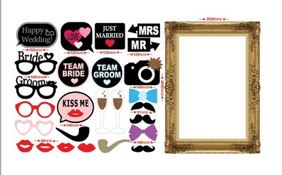 wedding photo booth props kit with papercard frame mr and