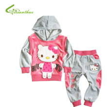 Baby Girls Clothing Sets Hello Kitty Jacket  Pants Toddlers Soft Velvet Hoodies Trousers KT Long Sleeve Outfits Free Drop Ship