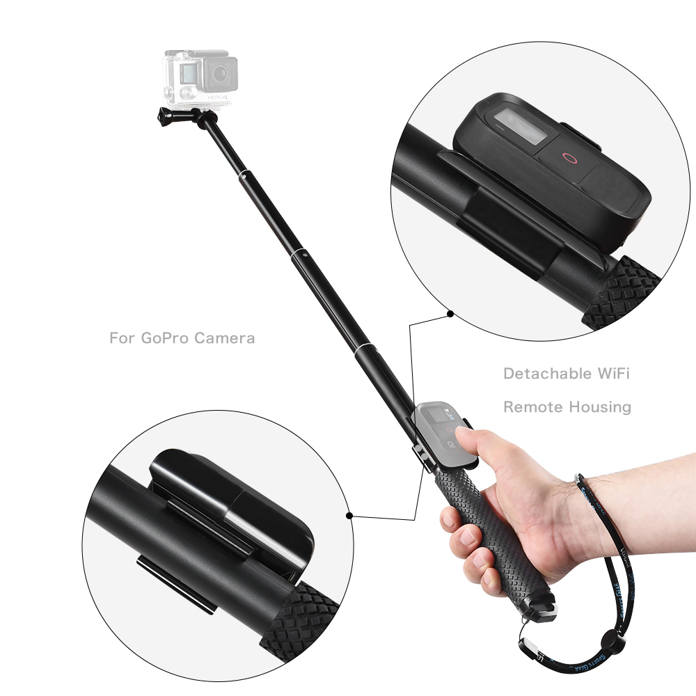 GoPro Remote Control Accessories For GoPro Hero 6 GoPro Hero 5  GoPro Hero 4 Session+Aluminum Remote Telescopic Pole Extendable Monopod For  GoPro Hero 5  GoPro Hero 6  GoPro Hero Session  GoPro Hero4 Session GoPro Hero 5 Session (5)