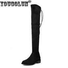 YOUGOLUN Women Thigh High Boots Sheepskin Suede 2017 Autumn Winter Lowland Square Heel 3 cm Low Heels Black Lace up Shoes #N-200(China)