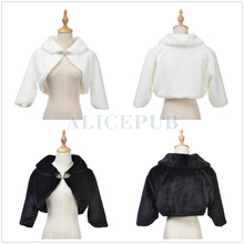 Hot Ivory/Black Faux Fur Bridal Wedding Wrap Jacket Winter Evening Party Shrug Bolero Coat Women's Accessory Size S M L PJ160008