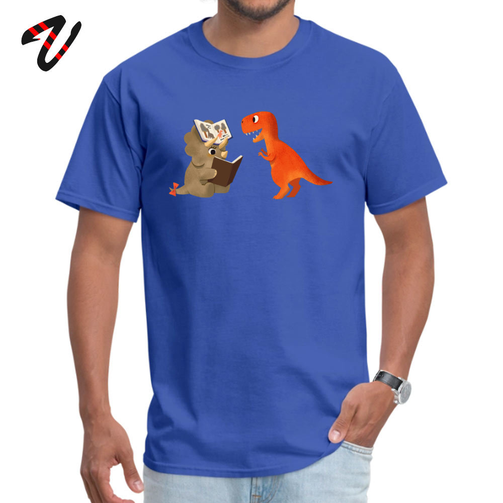 BOOK DINOSAURS T Shirt for Men Casual Summer Tops Shirt Short Sleeve Coupons Simple Style Tee Shirts Round Neck 100% Cotton BOOK DINOSAURS 04 -17446 blue