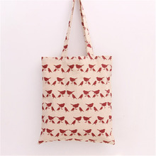 Free Shipping 2017 New Fashion Style Linen Women Beige With Wine Red Bird Shoulder Bags Women Handbags L129
