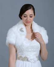 Custom made Black Winter Short Sleeve Wedding Jacket  Ivory Cap Sleeve Shawl Bridal Faux Fur Bolero Wedding Accessiores  W-J005