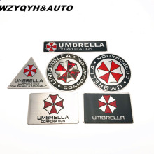 3D Aluminum Umbrella corporation car sticker accessories stickers For ford focus cruze kia rio skoda mazda opel M bmw vw audi(China)