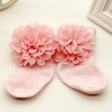 1Pair of 0-6 Months Toddlers Infants Cotton Ankle Bow Socks Baby Girls Princess Bowknots Socks Anti Slip Lace Floral Shoes 2016