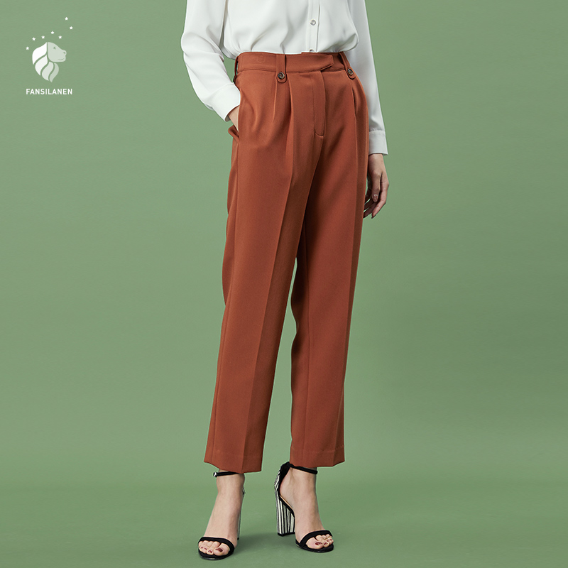 FANSILANEN 2019 Fashion Summer/Spring  Women Pants Trousers Wide Leg Flare Loose Skinny Elastic Waist High Work Solid z80090