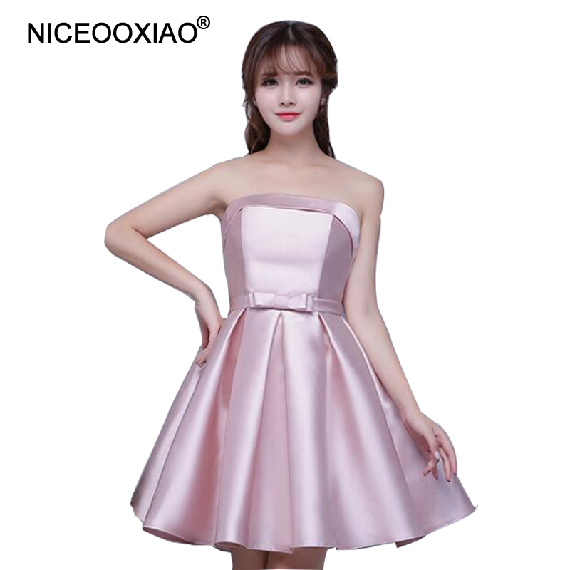NICEOOXIAO 2019 Women Strapless Padded Formal Party Ball Evening Gown Nude Pink Short Evening Dress Robe De Soiree(3 Colors)
