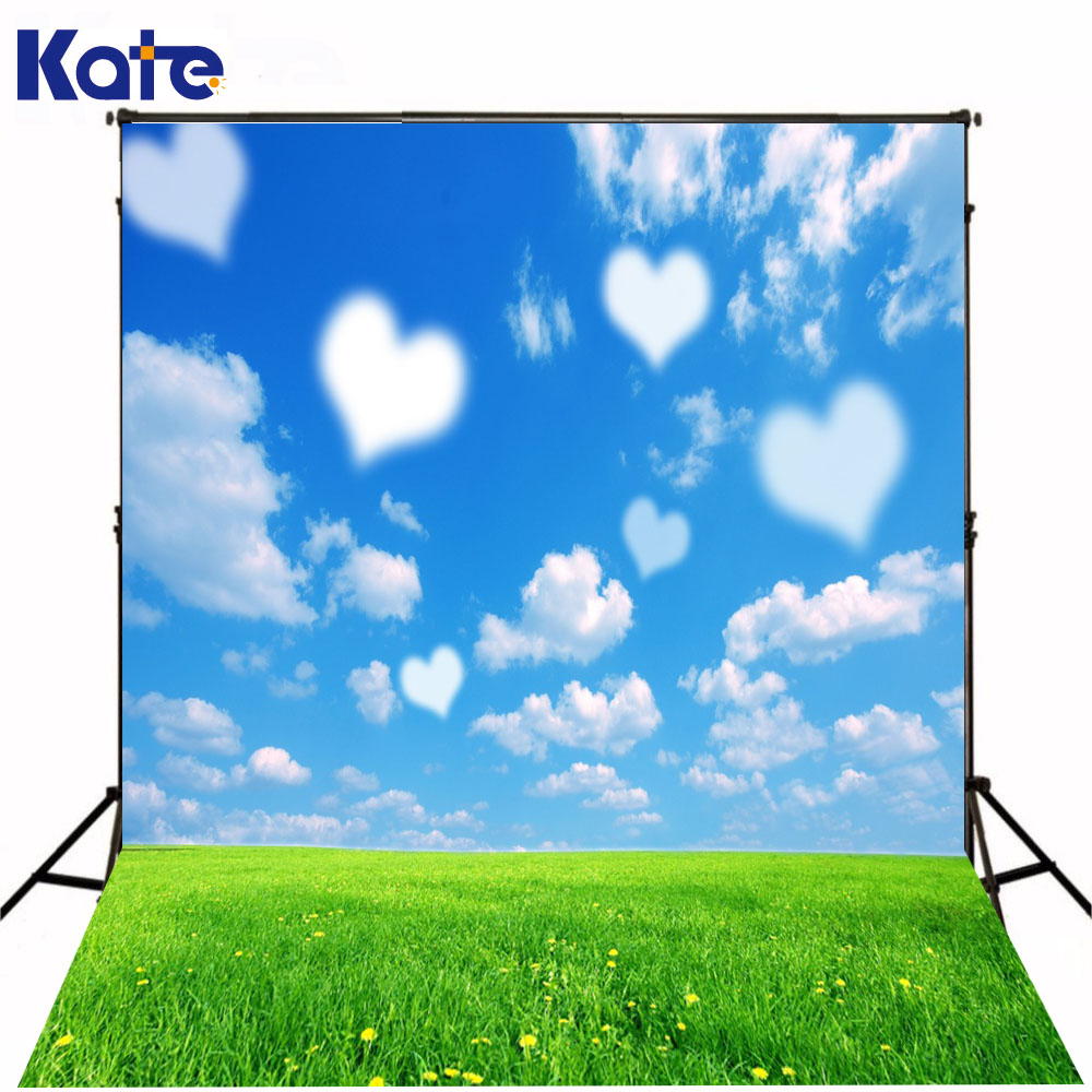 6.5X10Ft Kate Heart-Love Cloud Photo Backdrops Valentines Backgrounds Romantic Backdrops Scenic Backdrops For Photography<br>