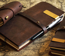 Vintage Diary Notebook Journal Blank Leather Cover Diary genuine leather travel diary D0407(China)