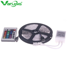 3528 5M 16.4ft Nonwaterproof RGB LED Strip + 24Key IR Remote Controller for Home Party Decoration LED Ribbon Free Shipping(China)