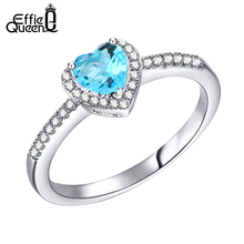 Effie Queen Blue Heart Crystal Zircon Wedding Ring with Paved AAA Cubic Zircon Silver Color Ring for Women Gift DR74