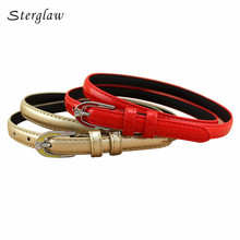 2017 designer belts women high quality red pinceis thin waist belt for Women 's dresses casual leather straps 110cm F120(China)