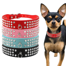 3 Rows Bling Diamond Rhinestone Suede Leather Pet Dog Collars For Small Medium Dogs XS S M L 4 Colors(China)