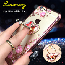 Hot New TPU Flower Ring Peacock Diamond Case For iphone 6 6s 7 Plus Metal Rotated Heart Finger Stand Holder Cover For iPhone 6s