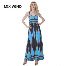 MIX WIND 2017 new couture fashion sexy dress printing large swing dress sling slit Beach for woman dress free shipping