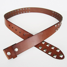 New JEAN'S FRIEND Brown Big Studded Punk Solid Real Leather Belt Gurtel BELT1-008ZW(China)