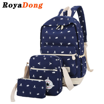 RoyaDong 2017 Canvas Printing Women Backpack Candy Color Fashion School Bags For Teenage Girls High Quality Backpacks Set/3 Pcs
