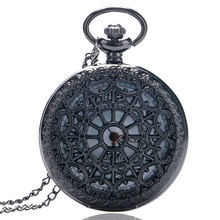 Vintage Black Web Spider Love Heart Quatz Pocket Watch Women Lady Girl Necklace Pendant Chain Birthday Gift Reloj De Bolsill