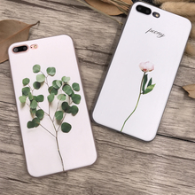 Ultra Thin 3d Relief Soft Silicone Tpu phone Case For Apple Iphone 6 6s 7 8 Plus fashion flower leaf Back Cover For iphone6 5 5S(China)