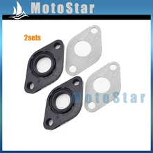 2sets Chinese Moped Scooter Intake Manifold Inlet Pipe Gasket For Baotian SUNL Znen Jmstar GY6 50cc Engine Carburetor Carb(China)