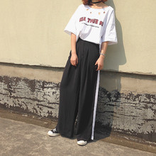 Pants For Women High Waist Black Trousers With One White Striped Hip Hop Dance Clothes & Boho Pants XC739