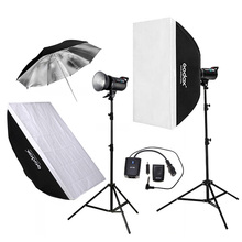 Godox 2pcs DE300 300WS Photo Studio Flashlight Strobe Lighting Kit + 60x90cm Softbox + 2.8M Light Stand + Remote Control