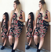 1 Pcs New Lady's Mother Daughter Matching Dresses Summer Girl Floral Princess Dress Clothes Outfit