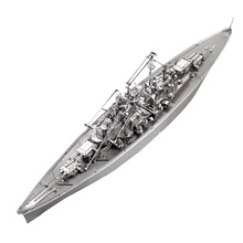 3D Metal Nano Puzzle Bismarck Battleship Warship P084-S DIY 3D Laser Cut Assemble Models Toys For Audit