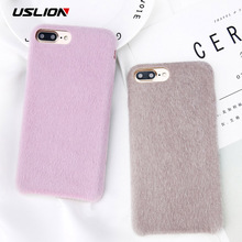 USLION Winter Warm Furry Fur Phone Case For iPhone 8 Plus Stickers Hair Soft Silicon Back Cover For iPhone8 7 Plus Case Coque(China)