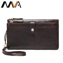 MVA Genuine Leather Wallets Clutch Zipper Long Wallet Casual Men Clutch Bag Leather Men Wallet Male Purse Phone Card Holder
