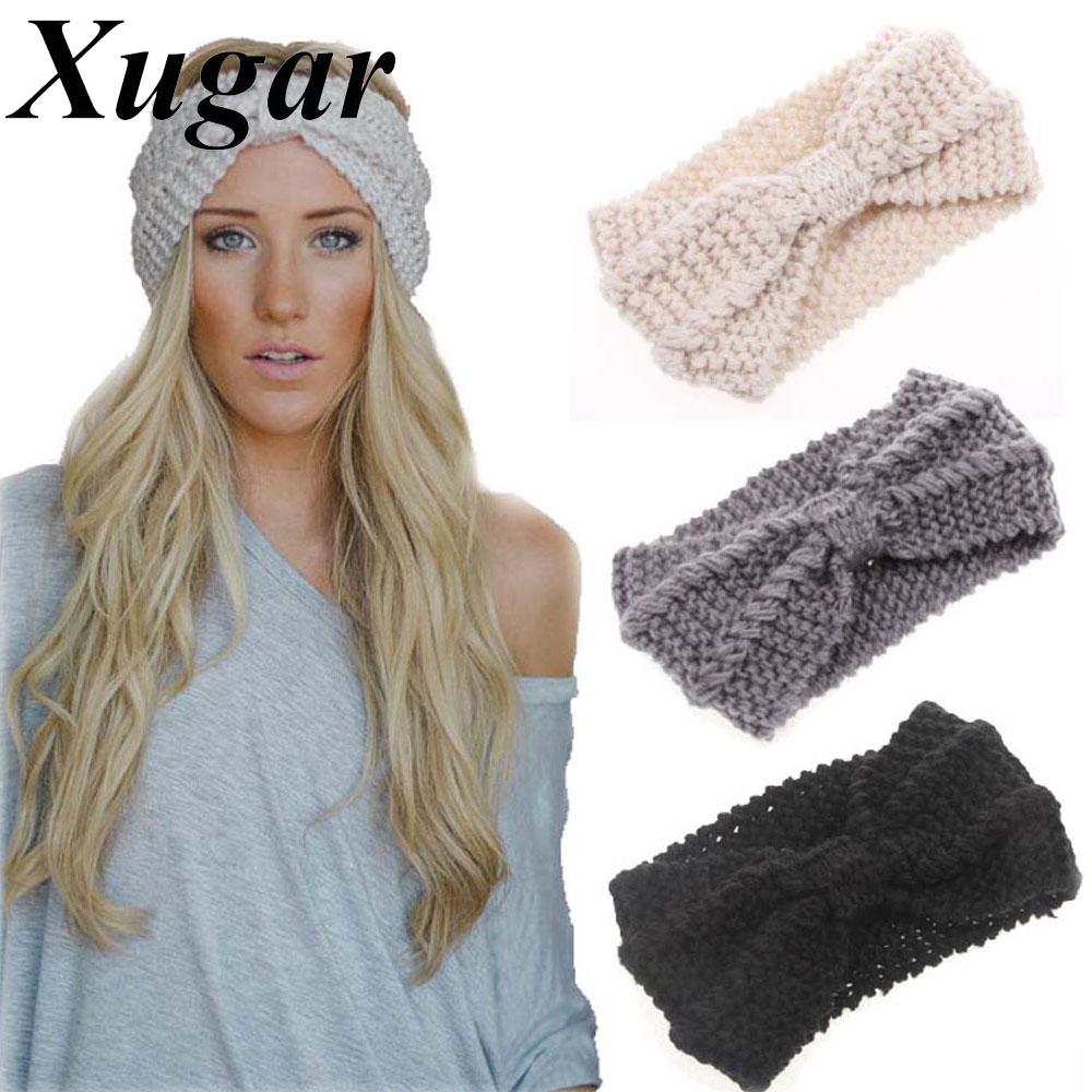 Winter New Fashion Solid Wool Warm Crochet Bow Headband For Lady Women Head Bands Knitting Headwraps Hair Accessories(China)