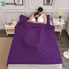 Double/Single Person Portable Envelope Type Cotton Sleeping Bag Hotel Outdoor Four Seasons Adult Folding Sleeping Bag 3 Sizes(China)