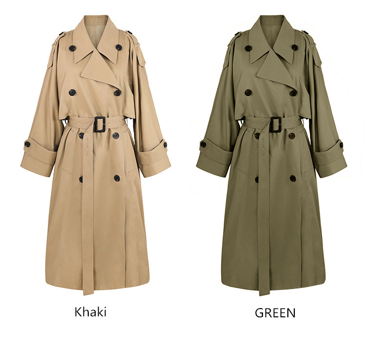 khaki Trench Coat Casual women's long Outerwear loose clothes for lady with belt spring autumn fashion high quality army green 7