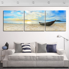 3 Piece Beach Canvas Pictures Soft Sand Boat Lucky Painting Wall Art Blue Sea Sky Canvas Print For Room Wall Hanging No Frame