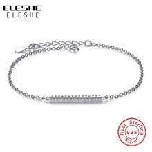 Buy ELESHE 925 Sterling Silver Link Chain Bracelet Cubic Zirconia Crystal Flat Bar Charms Bracelet Women Fashion Silver Jewelry for $5.78 in AliExpress store