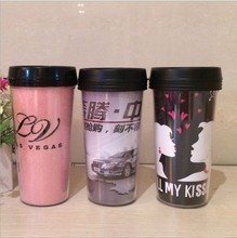 insulated plastic thermos tumbler,paper removeable thermal mug,plastic traveling mug,photo insert cup(China)