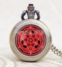 New Movie cartoon Full Metal Alchemist Fullmetal Transmutation circle pocket watch 1pcs/lot Handmade locket necklace vintage men