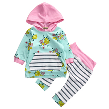Buy 2017 TOP Sale Children Sets Kids Baby Girls Warm Infant Hooded Floral Tops Pink Hooded Striped Long Pants Clothes Outfit 0-3Y for $5.79 in AliExpress store
