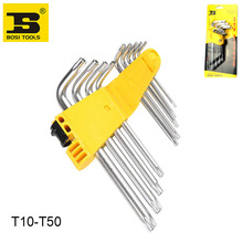 BOSI 9pc T10-50 star torx wrench set long short arm wrenches kit(China)