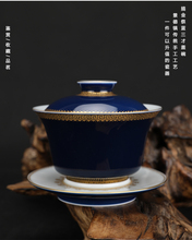 outline in gold Sacrifice blue  Cover bowl All-Hand-made All-Hand painted ancient Tea set  Free Shipping