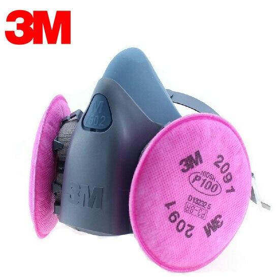 3M 7501+2091 Original Half Facepiece Reusable Respirator Mask Respiratory Protection 99.97% Filter Efficiency ZY001<br>
