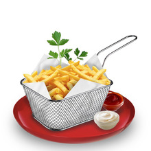 Kitchen Cooking Tools Mini Stainless Steel French Fries Net Fry Fryer Basket Small square shape kitchen Useful Accessories