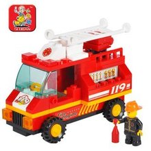 SLUBAN little Small Luban building block sets educational blocks SimCity fire engine children assembled puzzle toy free shipping