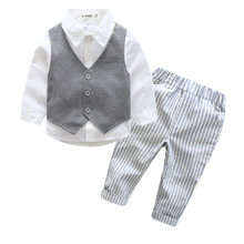 Baby Boy Clothes toddler boys clothes baby clothing set gentleman boys suit vest+white shirt+pants