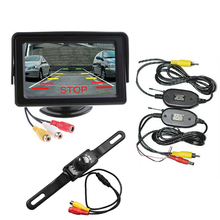 2.4GHz Wireless Transmitter and Receiver Kit Night Vision Rear View Backup Camera 4.3 Inch LCD Car Rearview Monitor plastic(China)