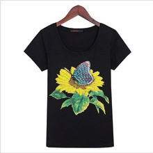 KEQI Hot New 2017 fashion Beading Sunflower butterfly Women's Cotton T-shirt T shirt summer T shirt 2817